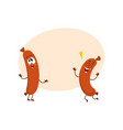 two funny sausage character with human face vector image vector image