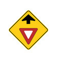 usa traffic road signs yield sign ahead vector image vector image