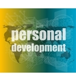 word personal development on digital screen 3d vector image