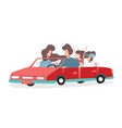 young happy family is traveling on a red car vector image vector image