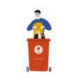 young man throwing glass waste into garbage vector image vector image