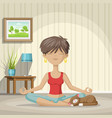 young woman practices yoga vector image