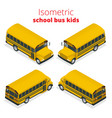 isometric yellow school bus kids vector image