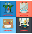 set of spa therapy concept posters in flat vector image
