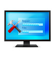 monitor with tools on white background vector image