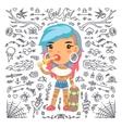 Cartoon Cute Tattoo Girl with Skateboard vector image