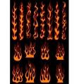 Various fiery flames in tribal style vector image