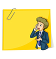 A man talking with a cellphone standing in front vector image vector image