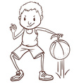A simple sketch of a basketball player vector image vector image