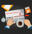 businessman reading newspaper at the breakfast vector image vector image