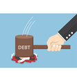 Businessman smashed by hammer of debt vector image vector image