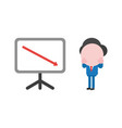 businessman with sales chart and arrow moving down vector image vector image