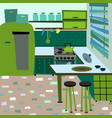 cartoon flat interior room kitchen vector image vector image