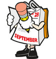 cartoon mark calendar september hand vector image vector image