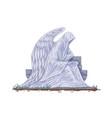 cemetery gravestone with angel sculpture catholic vector image
