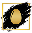 chicken egg sign golden icon at black vector image vector image