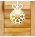 Christmas snowflake on a wood box EPS8 vector image vector image
