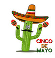 Cinco de mayo sombrero chili pepper cactus and