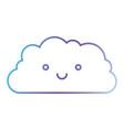 cloud cartoon kawaii in color gradient silhouette vector image vector image