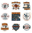 colored premium tailor shop logotypes set vector image vector image