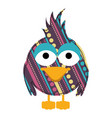 colorful caricature bird with texture dots and vector image