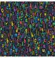 colorful letters seamless pattern on black vector image