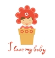 Cute baby in floral hat sitting in a pot vector image