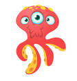 cute red octopus alien monster cartoon vector image