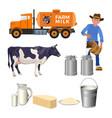 dairy farm set vector image