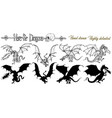 design set with hand drawn dragons vector image vector image