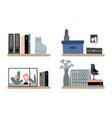 diverse bookshelves set vector image vector image