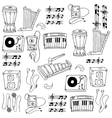 Doodle of object music pack vector image