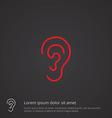 ear outline symbol red on dark background logo vector image vector image