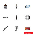 flat icon auto set of absorber windshield input vector image vector image