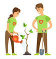 gardening plant watering pot and shovel vector image vector image