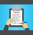 hand signing document on a clipboard flat design vector image