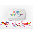 Happy birthday greetings card with note paper vector image vector image