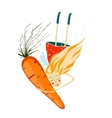 Healthy Girl with Carrot vector image