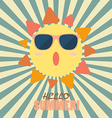 Hello Summer with happy sun on sunburst pattern vector image vector image