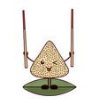 kawaii happy rice dumpling holding wooden sticks vector image