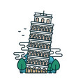 leaning tower of pisa trees vector image vector image
