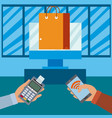 nfc technology payment and shopping vector image vector image
