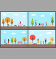people having fun in autumn park family days vector image vector image