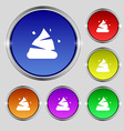 Poo icon sign Round symbol on bright colourful vector image