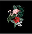print for t-shirt with flowers and flamingo vector image vector image