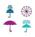 rain umbrella icon set color outline style vector image
