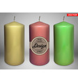 realistic big colorful wax candles design vector image