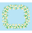 Rectangular frame of white flowers in a flat style vector image