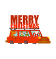 santa claus and deer and elf in car merry vector image vector image