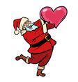 santa claus with heart christmas and new year vector image